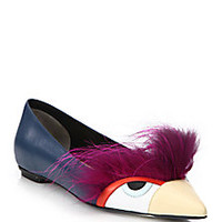 Fendi - Bugs Fox Fur & Leather Flats - Saks Fifth Avenue Mobile