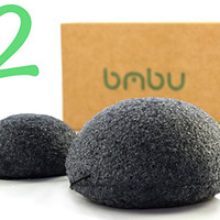 Konjac Sponge 2 Pack Made With Activated Charcoal - Gentle Face Scrub Buff - Perfect Facial Exfoliation Sponge for Acne Treatment and Prevention