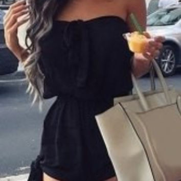 Strapless Bowknot Elastic Waist Rompers