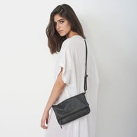 Sale 20% off Leather Cross Body Bag, Handmade Women Bag in Smoked Black, Fold Over Clutch