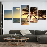 Home Decor Canvas HD Prints Poster Living Room Framework 5 Pieces Sunset Beach Coconut Tree Seascape Paintings Wall Art Pictures