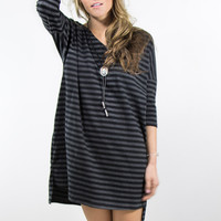 Look Again Charcoal And Black Stripe Knit Tee Dress