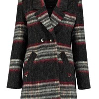 Boutique Mash Brushed Check Double Breasted Coat