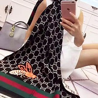 GUCIC hot selling fashion double G full print red and green stripe bee jacquard shawl scarf