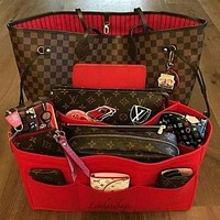 LV Louis Vuitton Flor Women Girl Monogram Canvas Neverfull Two piece Bag