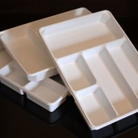 """3-PACK of Organizer Trays for Desk, Utensils, Tools, Crafts, Vanity - 15.7"""" X 11.7"""" X 2.0"""" - White"""