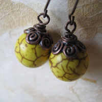 Copper Earrings, Yellow Turquoise and Antique Copper Earrings, Marigold Yellow Earrings,Yellow Howlite