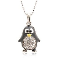 Spinningdaisy Silver Plated Round Body Cute Black Penguin Necklace