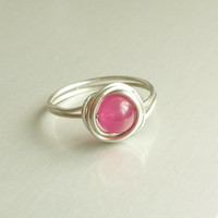 Pink Dyed Jade Bead Wire Wrapped Rings - Bridesmaid gift - Gift for Her