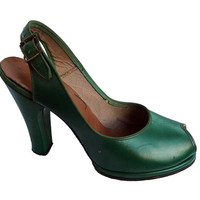 RESERVED for Bella Vintage 1950's 50's Kelly Green Leather Babydoll Peep Toe Heels Sz. 5/12