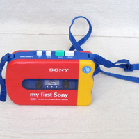 Vintage 80s FIRST SONY WALKMEN Toy Electronics Colorful Awesome Retro Style Cassette Tape Player