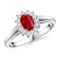 Oval Ruby and Diamond Halo Ring