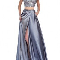 Mollybridal High neck Two Pieces Bling Prom Dresses A line Long Green 2