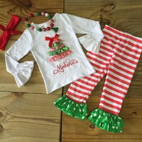 Red White Striped Ribbon Christmas Tree Boutique Outfit