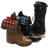 NEW Women Foldable Mititary Combat Lace Up Mid Calf Ankle Plaid Lining Boots