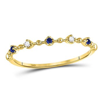 10k Yellow Gold Round Blue Sapphire Diamond Beaded Stackable Band Ring 1/20 Cttw