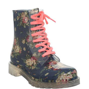 Design Blue Floral Patent Jelly Boot | Hot Topic
