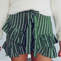 Just A Little Bit Skirt: Green/Ivory