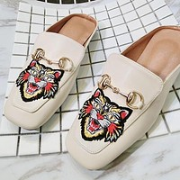 Summer Popular Women Casual Tiger Embroidery Half Slipper Mules Shoes Slippers Beige I12508-1