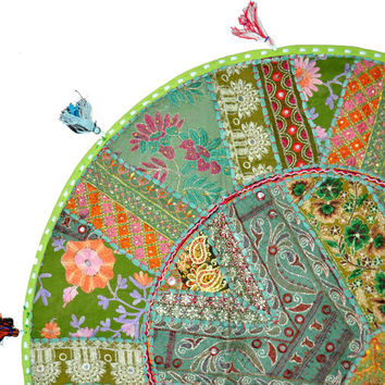 """17"""" Green Patchwork Round Floor Pillow Cushion round embroidered Bohemian Patchwork floor cushion pouf Vintage Indian Foot Stool ottoman"""