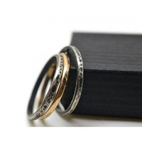 Set of Three Oxidized Sterling Silver and 14K Gold Fill Stacking Rings