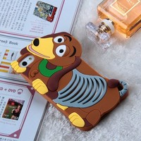 RAYTOP Lovely Cute Cartoon 3D Dog Brown Soft Silicone Back Cases Covers for Apple iPhone 5 5s Back Skin Cheap Slim Light Kids Teen Girls Gift Cheap