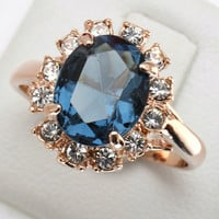 Blue Stone Emerald Ring Bague 18K Rose Gold Plated Crystal Fashion Imitation Gemstone Anniversary Jewelry For Women anel R189