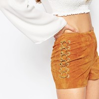 ASOS PETITE Festival Suede Shorts With Metal Rings