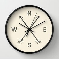 Compass (Natural) Wall Clock by Zach Terrell   Society6