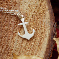 Ship's Anchor Necklace. Sterling Silver. Small. Tiny. Tattoo Inspired. Simple. Minimal. Shiny.