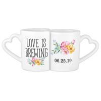 Watercolor Floral Love is Brewing Wedding Couples Coffee Mug