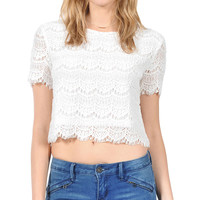 HYFVE Women's Allover Lace Crop Top