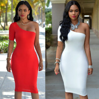 Short Sleeve Off Shoulder Sexy Party Night Club Dress