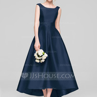 [US$ 112.00] A-Line/Princess Scoop Neck Asymmetrical Satin Bridesmaid Dress - JJsHouse