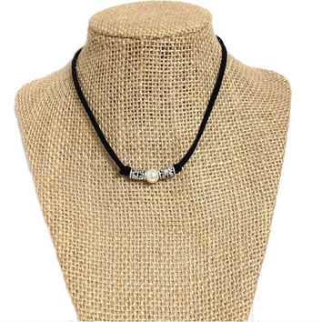 Pearl suede leather choker necklace, single pearl knotted silver accent leather choker, white pearl, suede leather cord, gift