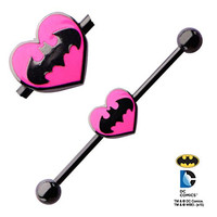 Officially Licensed DC Comics Pink Heart Batman Black Industrial Barbell piercing bar jewelry ring Earring 14g 14 gauge 1-3/8""
