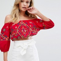 New Look Embroidered Crop Top at asos.com