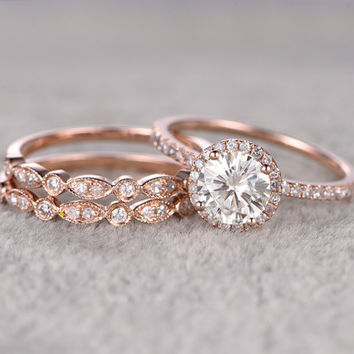 3pcs Moissanite Bridal Set,Engagement ring Rose gold,Diamond wedding band,14k,6.5mm Round,Gemstone Promise Ring,Pave Set,Art Deco eternity