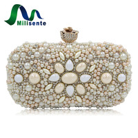 Milisente Women Wedding Purse Black Alloy Beaded Bags Dirty Pink Party Handbags Lady Clutches Small Evening Clutch Vintage Bag