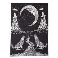 Beach Towel Moon Wolfs Tower Tapestry Shawl Retro Wall Hanging Towel Yoga Beach Mat Black White Home Textile Bedroom Decoration