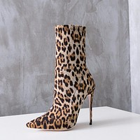KAIA Leopard Print Mid Fitted Boots