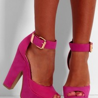 Baby Chino Hot Pink Suede Effect Platform Shoes | Pink Boutique