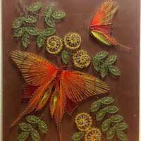 Vintage Butterflies and Flowers String Nail Art Wall Hanging