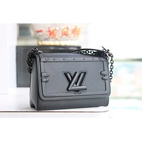 LV Louis Vuitton WOMEN'S LEATHER TWIST INCLINED SHOULDER BAG