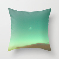 Little Moon in a Magic Blue Sky  Throw Pillow by Andrea Caroline