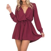 Shorts Playsuits Rompers Womens Jumpsuits Summer Beach 2017 Elegant Playsuit Sexy Deep V Neck Long Sleeve Overalls Button GV606