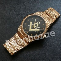 Iced Out Hip Hop FreeMasonic Dark Face Nugget Watch