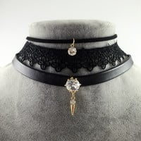Punk Crystal Stone Pendant Genuine Leather Necklace Collares Vintage Sexy Lace Choker Necklace Fashion Jewelry For Women 2016