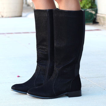 Solid Oil Rubbed Emerson Riding Boots {Black}