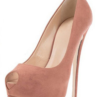 ROMWE Peep-toe Platform Pink Party High Heels
